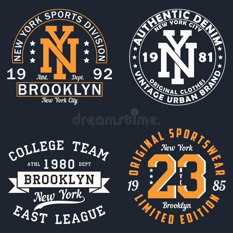 Комплект графика Нью-Йорка для футболки Первоначально дизайн одежд Винтажная печать оформления для одеяния вектор иллюстрация штока