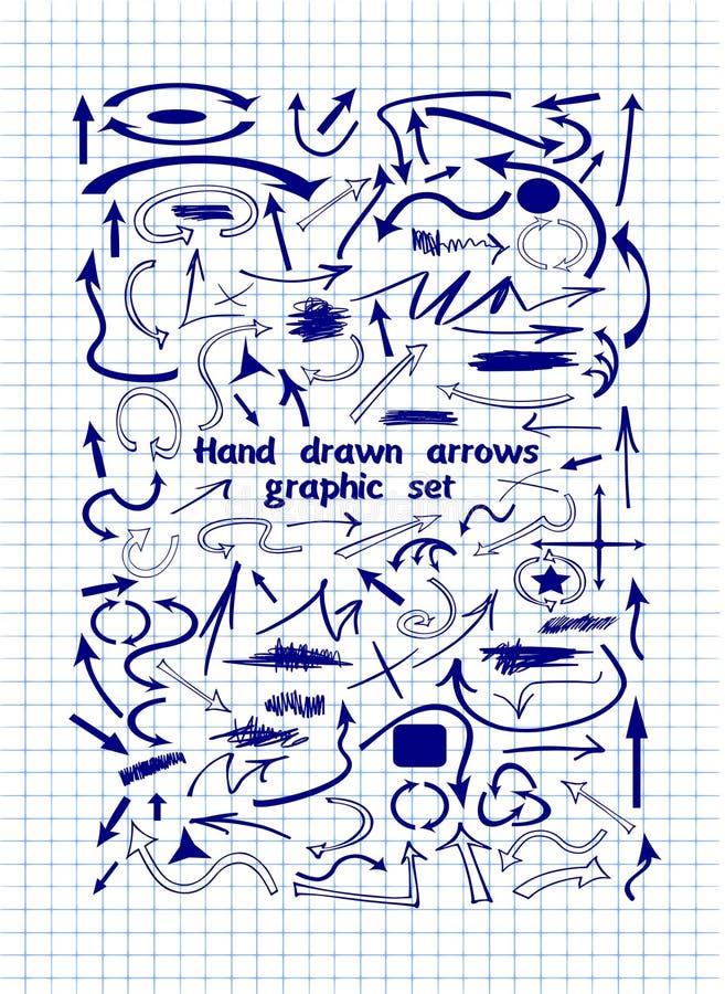 Комплект графических стрелок нарисованных вручную на листе тетради иллюстрация вектора
