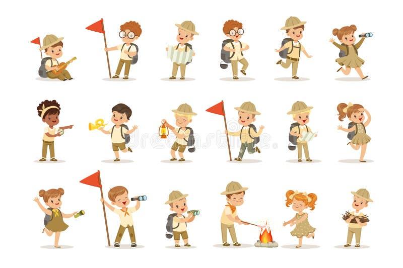 Комплект девушек и мальчиков в костюмах разведчика иллюстрация штока