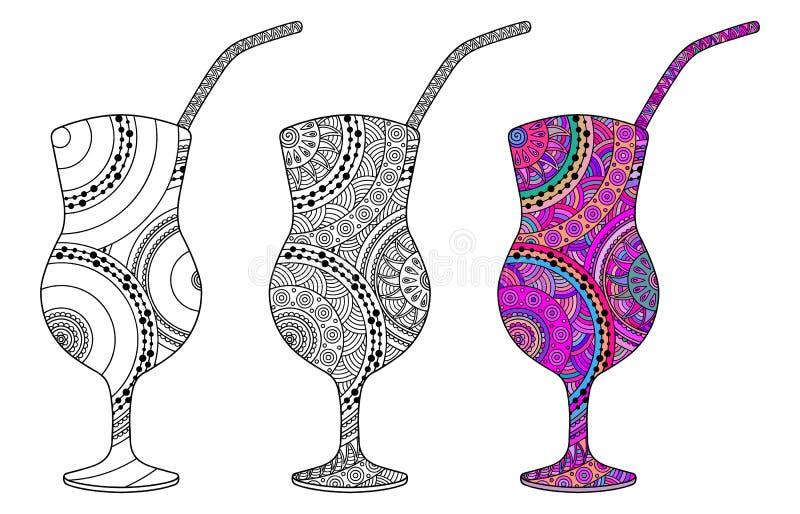 Комплект 3 декоративных стекел с коктеилем иллюстрация вектора