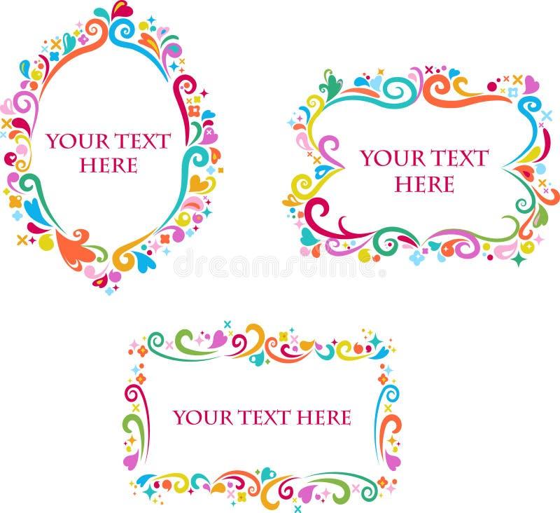Комплект декоративных цветастых ретро рамок бесплатная иллюстрация