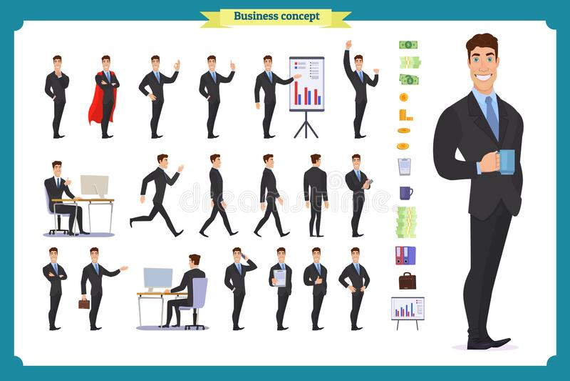 Комплект дела характера людей Молодой бизнесмен в официально носке иллюстрация штока