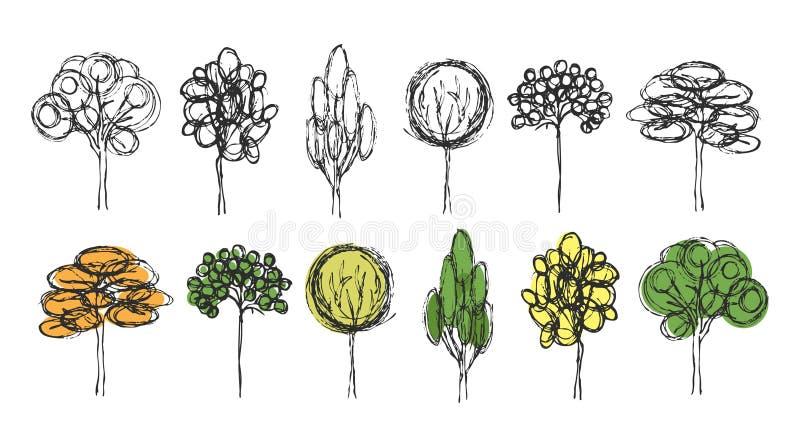 Комплект деревьев нарисованных рукой на белой предпосылке иллюстрация штока