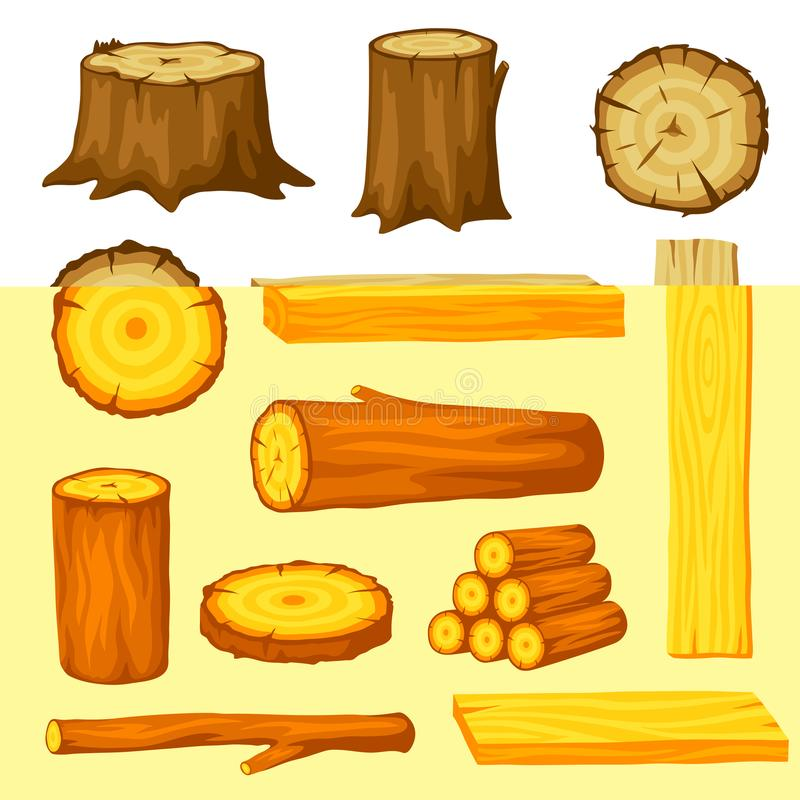 Комплект деревянных журналов для лесохозяйства и индустрии пиломатериала Иллюстрация хоботов, пня и планок иллюстрация вектора