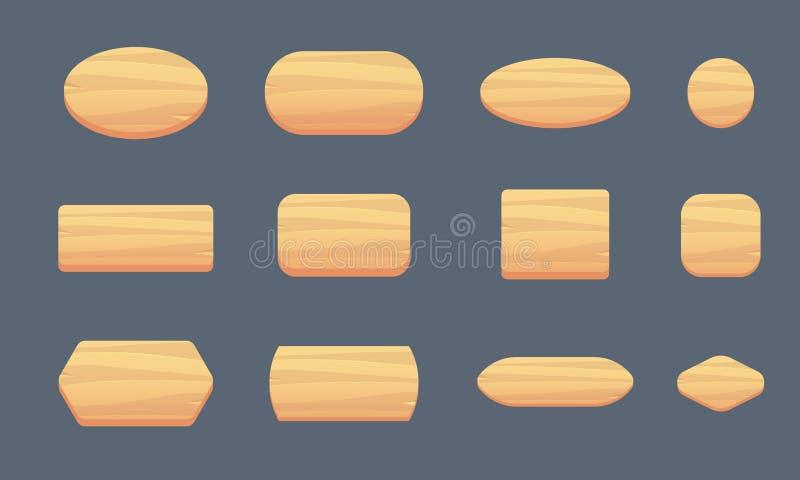 Комплект деревянных кнопок для интерфейса игры различных форм Деревянные формы для записи иллюстрация вектора