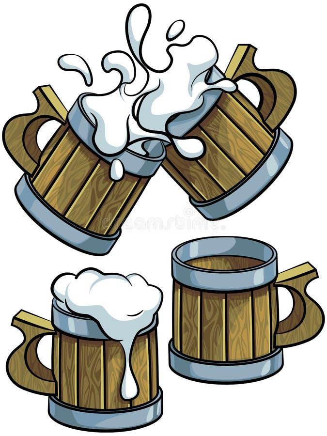 Комплект деревянных кружек пива стоковое изображение rf