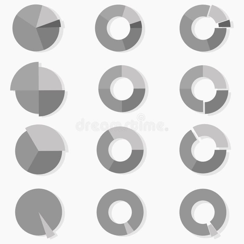 Комплект диаграмм дела серой шкалы Инфографика Острословие Daigaram иллюстрация штока