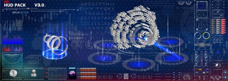 Комплект диаграмм и диаграмм Статистик и данные, информация и infographics Предпосылка HUD космического пространства infographic  бесплатная иллюстрация