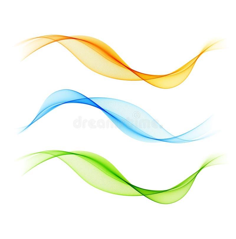 Комплект дизайна абстрактного дыма волны цвета прозрачного волнистого иллюстрация вектора
