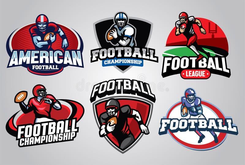 Комплект дизайна значка американского футбола иллюстрация вектора