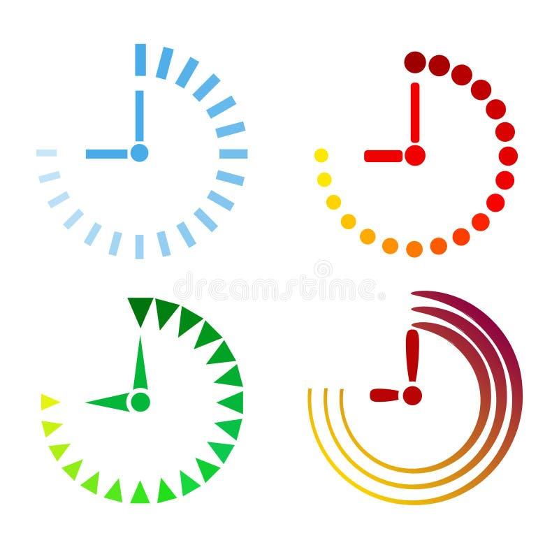 Комплект дизайна значков часов плоского, иллюстрации вектора запаса иллюстрация вектора
