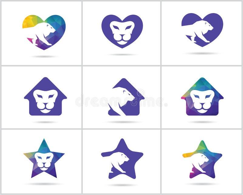 Комплект дизайна логотипа льва, вектор красочной живой природы животные значки, низкий поли лев в сердце, дом и звезда vector илл иллюстрация вектора