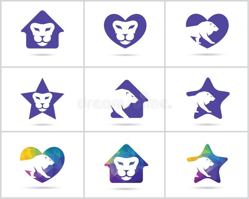 Комплект дизайна логотипа льва, вектор красочной живой природы животные значки, низкий поли лев в сердце, дом и звезда vector илл иллюстрация штока