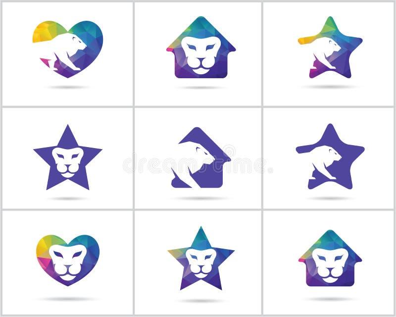 Комплект дизайна логотипа льва, вектор красочной живой природы животные значки, низкий поли лев в сердце, дом и звезда vector илл бесплатная иллюстрация