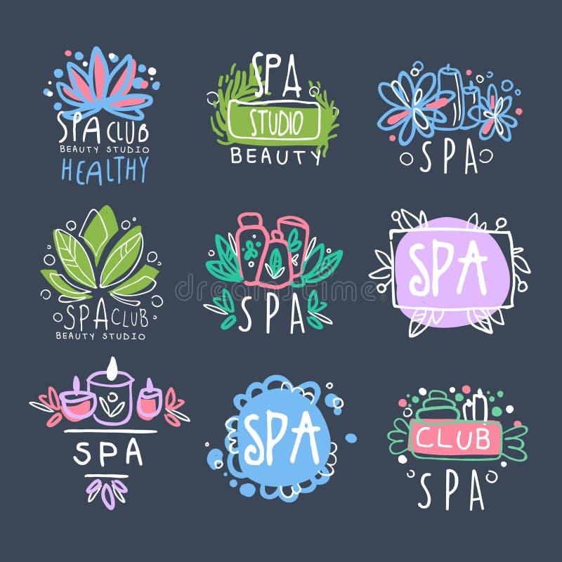 Комплект дизайна логотипа студии красоты курорта, значок для здоровья, иллюстраций вектора йоги разбивочной нарисованных рукой иллюстрация штока