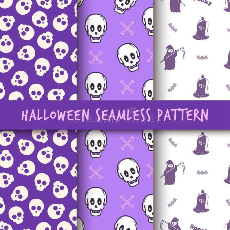 Комплект дизайна печати картины хеллоуина безшовного бесплатная иллюстрация