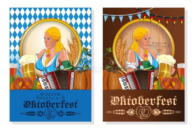 Комплект дизайна плаката вектора фестиваля пива Oktoberfest иллюстрация вектора