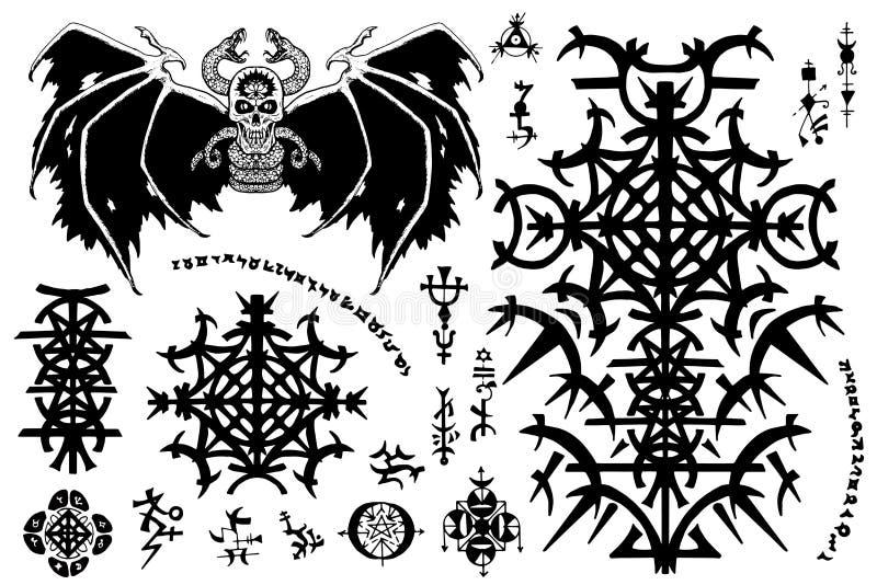 Комплект дизайна с готическими символами и, который подогнали злий демон на белизне иллюстрация штока