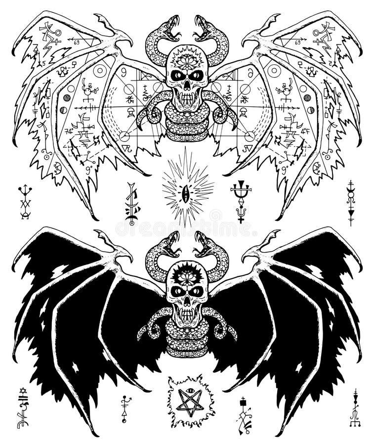 Комплект дизайна с, который подогнали злими черепом и змейкой демона бесплатная иллюстрация