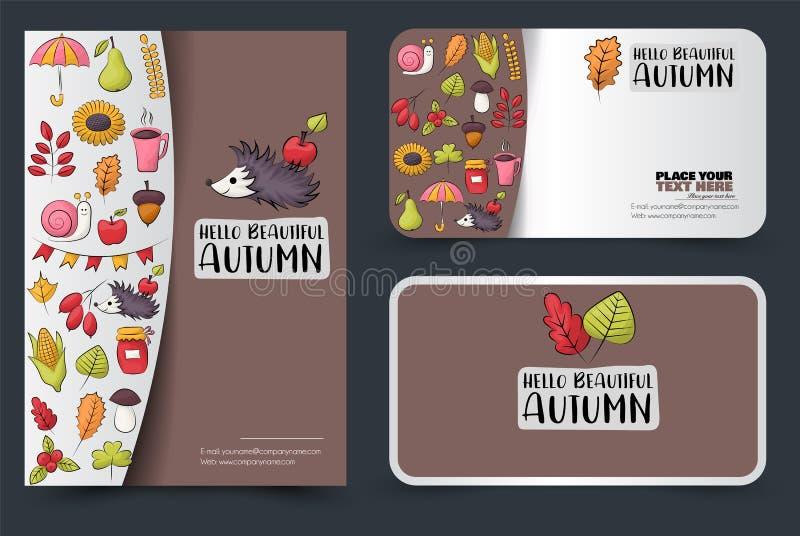 Комплект дизайна фирменного стиля сезона осени Рогулька и шаблон визитной карточки Знамена для ходить по магазинам или продажи иллюстрация штока