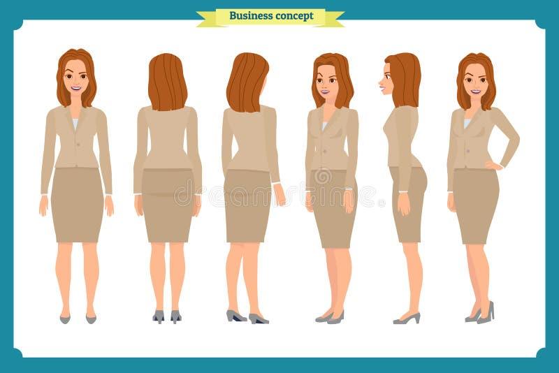 Комплект дизайна характера коммерсантки Фронт, сторона, задняя Девушка дела, женщина Стиль шаржа, плоский изолированный вектор иллюстрация штока