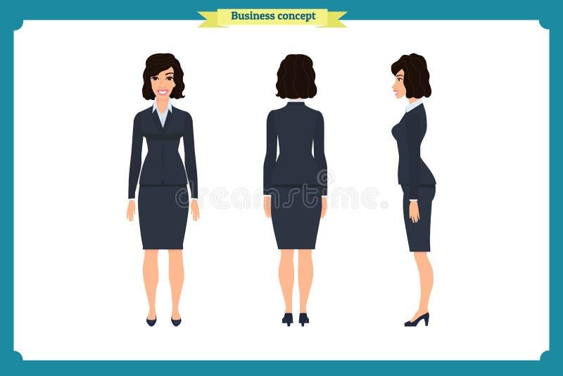 Комплект дизайна характера коммерсантки Фронт, сторона, задняя Девушка дела, женщина Стиль шаржа, плоский изолированный вектор бесплатная иллюстрация