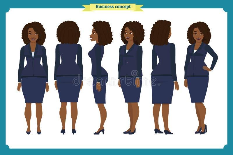 Комплект дизайна характера коммерсантки Фронт, сторона, задняя Девушка дела Стиль шаржа, плоский изолированный вектор Афроамерика стоковая фотография rf