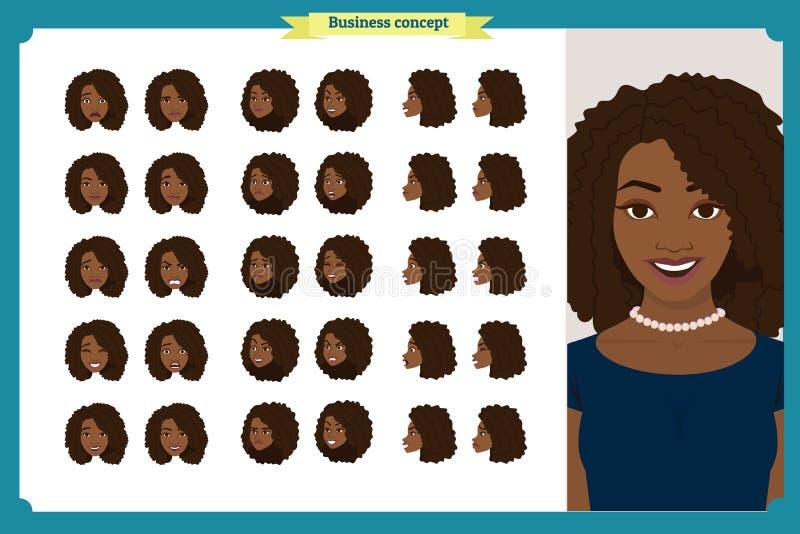 Комплект дизайна эмоций ` s женщины Лицевое выражение Фронт, сторона, взгляд профиля одушевил характер вектор Характер девушки де стоковое изображение rf