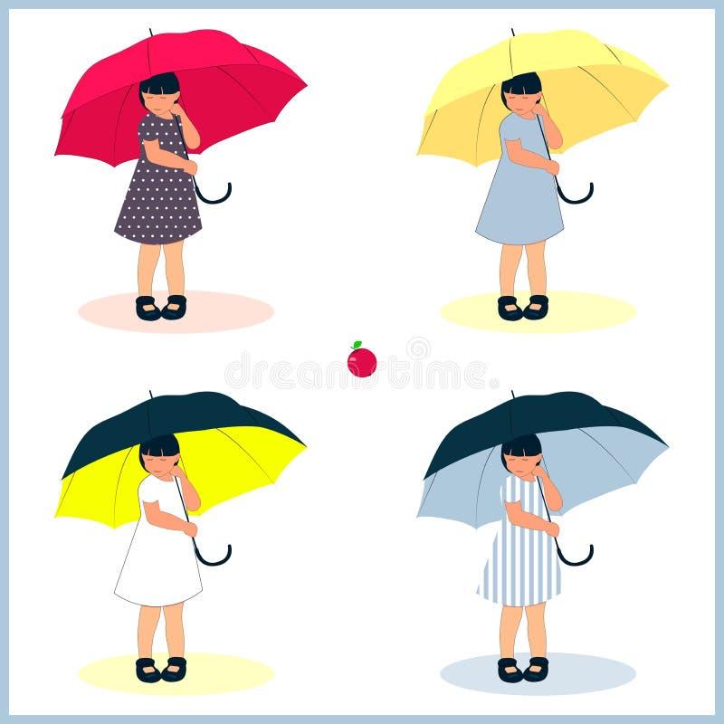 Комплект для девушек с зонтиками бесплатная иллюстрация