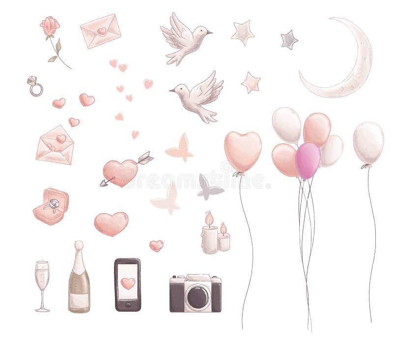 Комплект дня валентинки иллюстрация вектора