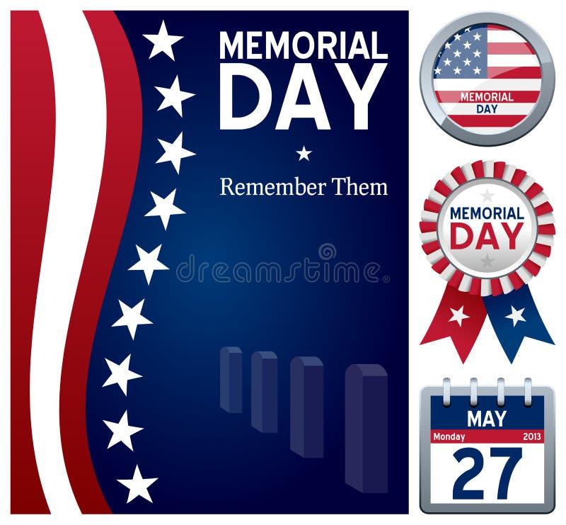 Комплект Дня памяти погибших в войнах бесплатная иллюстрация