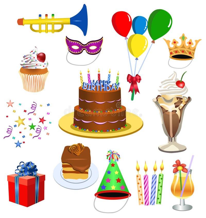комплект дня рождения бесплатная иллюстрация