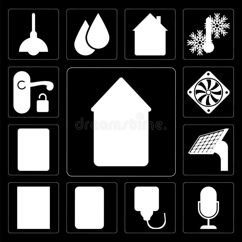 Комплект дома, управления голоса, штепсельной вилки, окна, панели, внутренной связи, Coole иллюстрация штока