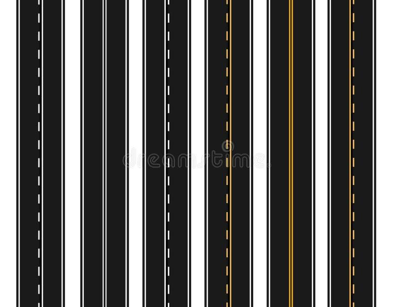 Комплект дорог с различными белыми и желтыми маркировками на белой предпосылке Разметка регулирует режим настигать бесплатная иллюстрация