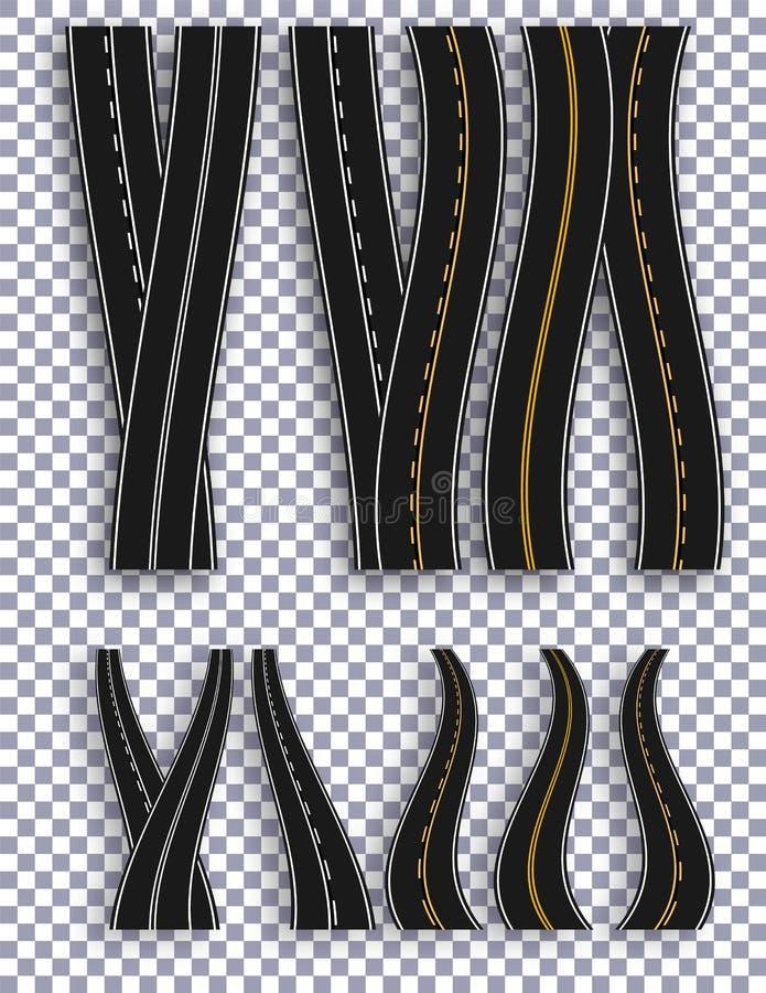 Комплект дорог с различными белыми и желтыми метками на checkered предпосылке с тенью В перспективе Разметка регулирует бесплатная иллюстрация