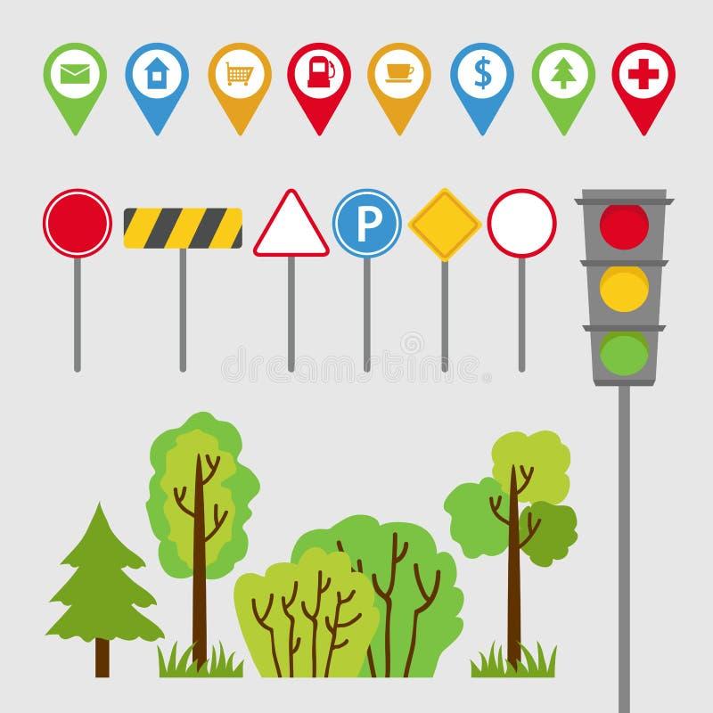 Комплект, дорожные знаки, знаки, светофоры, деревья и кусты перехода Автоматическое перемещение также вектор иллюстрации притяжки иллюстрация вектора