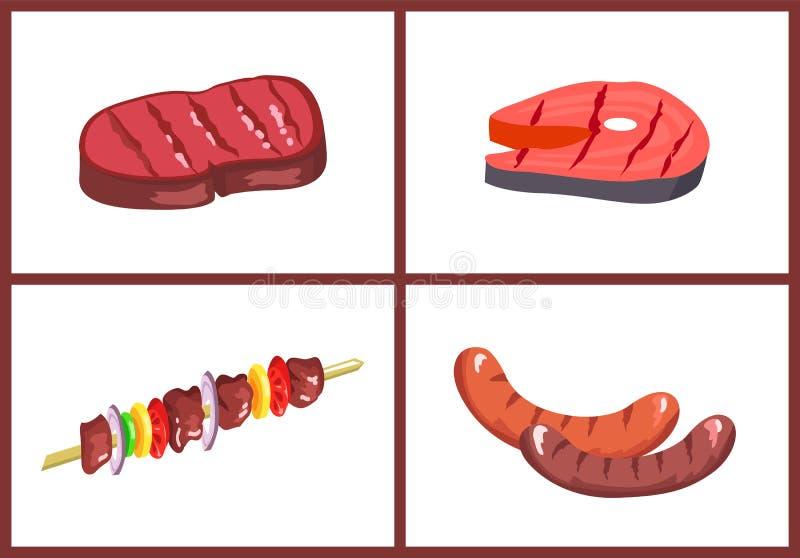 Комплект еды барбекю, 4 иллюстрации вектора цвета иллюстрация штока