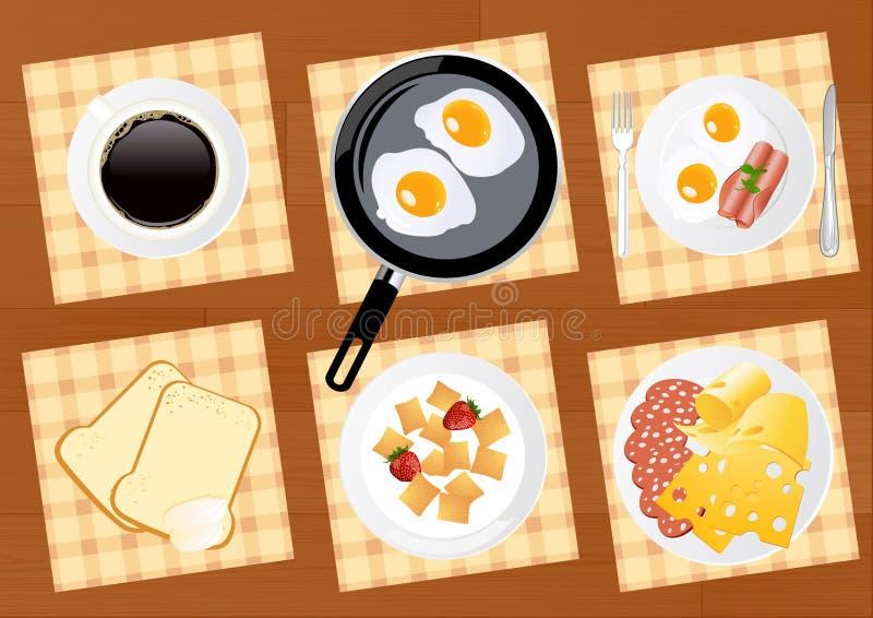 комплект еды завтрака иллюстрация вектора