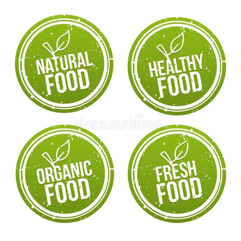 Комплект естественных значков еды Здоровый, органический, свежие продукты Знаки вектора нарисованные рукой Можно использовать для бесплатная иллюстрация