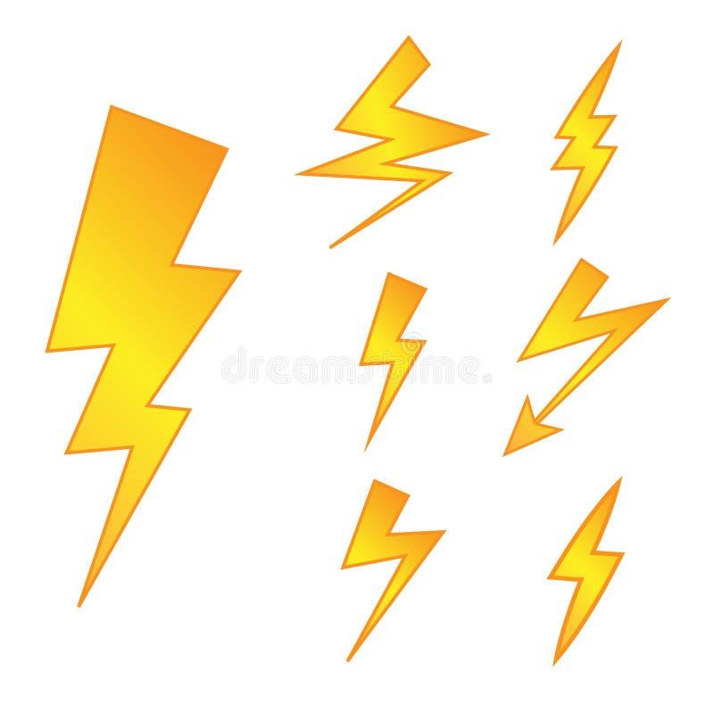 Комплект желтых символов Thunderbolt Знаки опасности вектора Электропитание Silhouettes значки иллюстрация штока