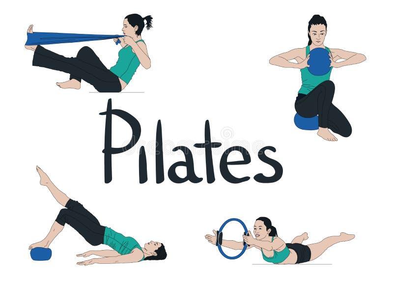 Комплект женщин, выполняющих упражнения и растягивающих упражнения, выполняя упражнения, изолированные на белом иллюстрация вектора