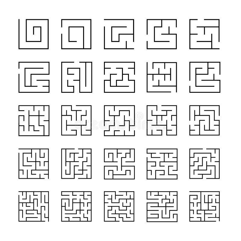 Комплект законспектированных значков лабиринта иллюстрация штока