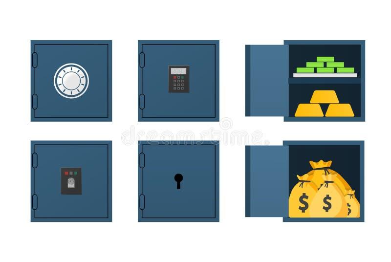 Комплект закрытого и раскрытого сейфа бесплатная иллюстрация