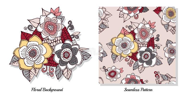 Комплект запаса букета doodle цветка восточный или арабский, иллюстрация вектора