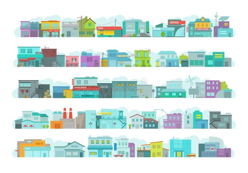 Комплект зданий городка архитектуры Улица города длинная Плоские векторные графики запаса Много различные детали иллюстрация вектора
