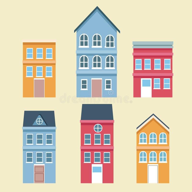 Комплект зданий городка иллюстрация штока