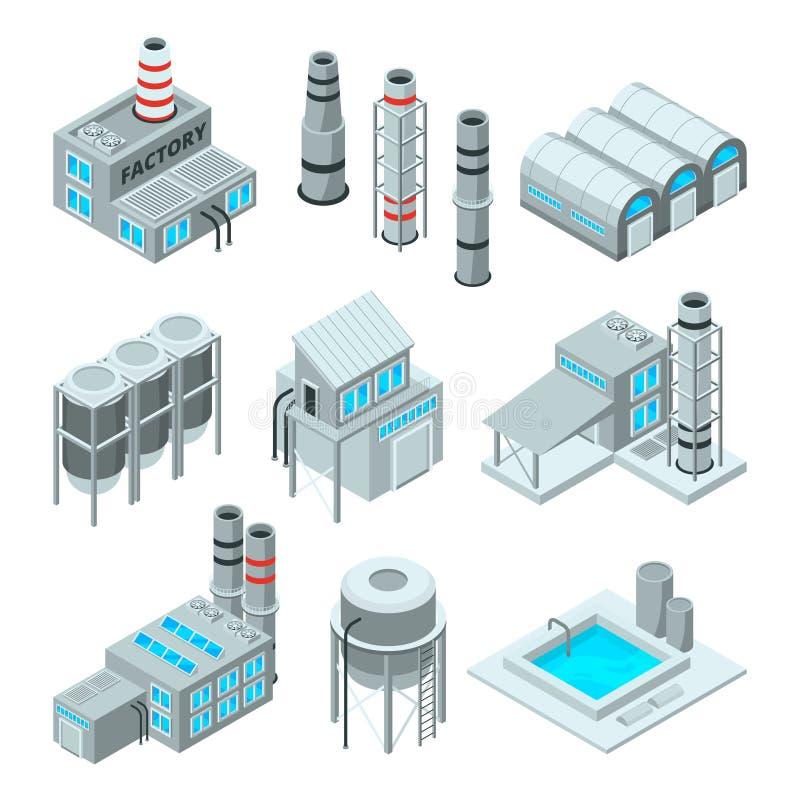 Комплект зданий промышленных или фабрики Равновеликие изображения 3d иллюстрация штока