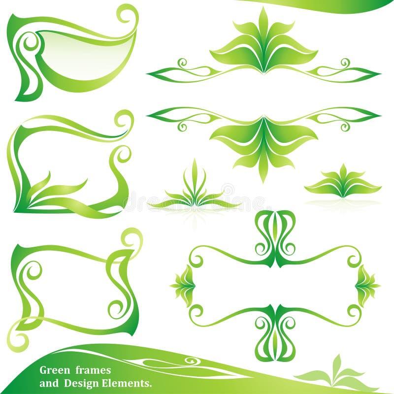 комплект зеленого цвета рамок элементов конструкции иллюстрация вектора