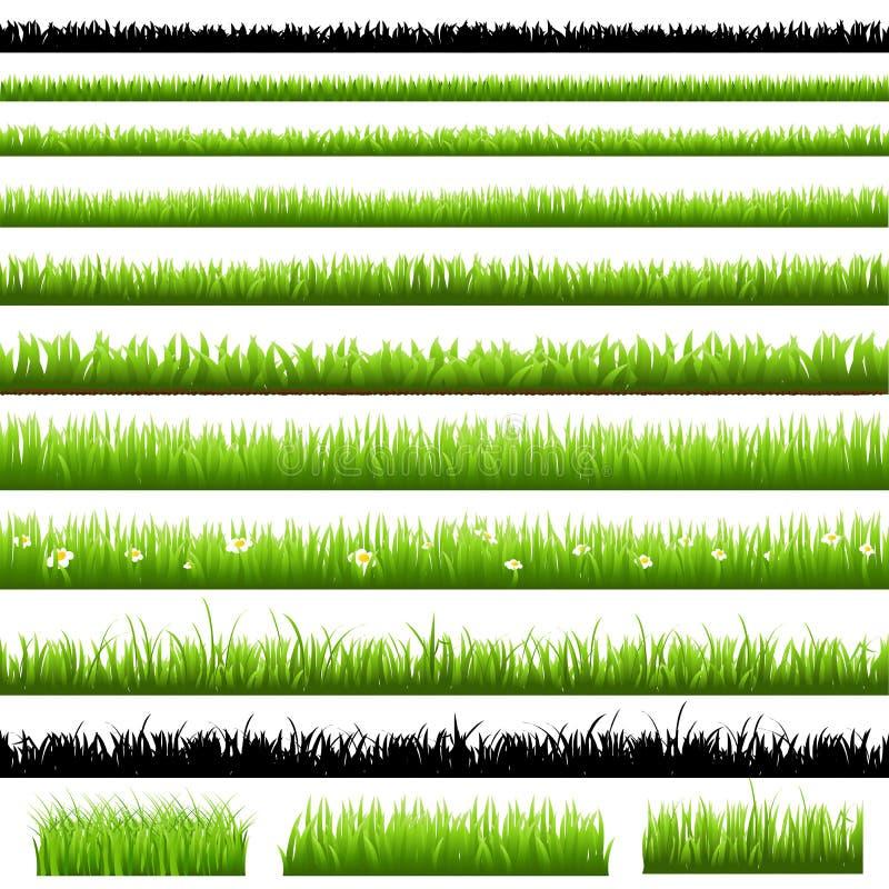 комплект зеленого цвета травы иллюстрация вектора