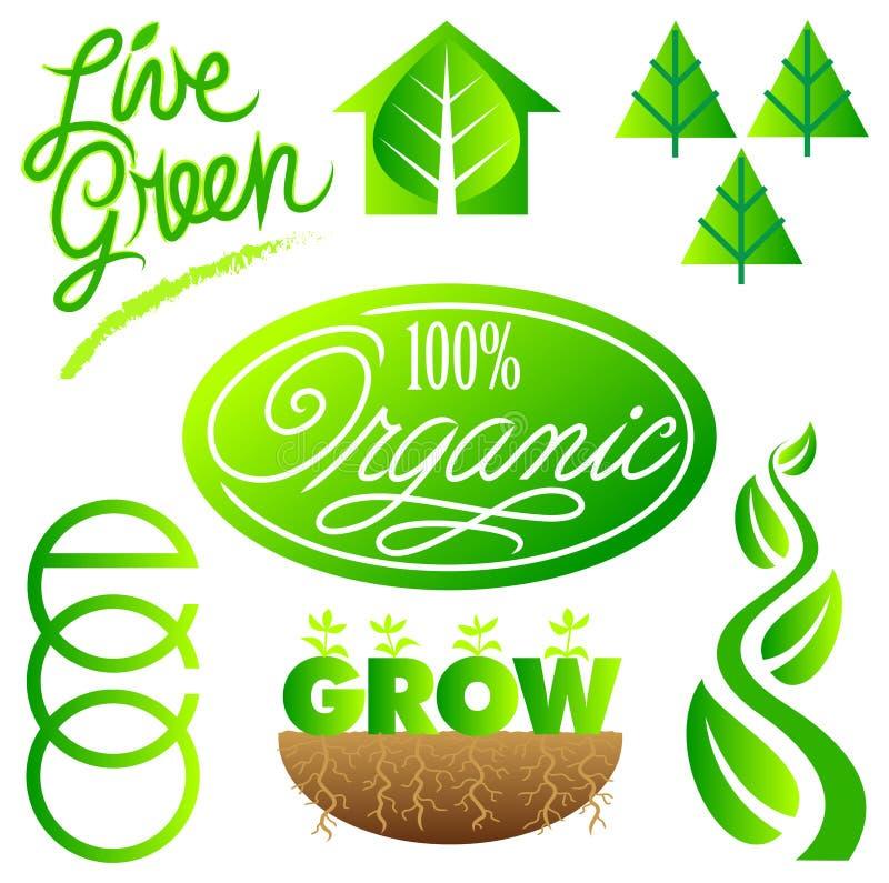 комплект зеленого цвета eps экологичности зажима искусства иллюстрация вектора